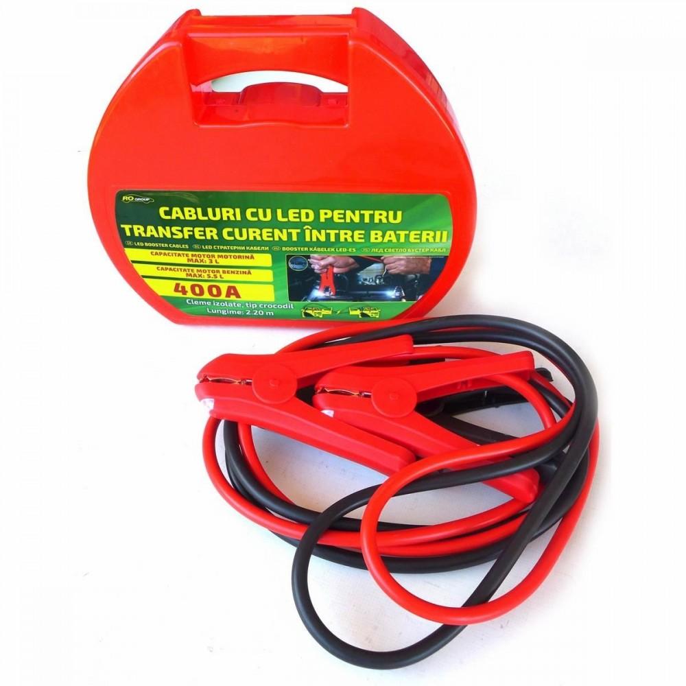 Cabluri pornire auto RoGroup, cu LED integrat, 400A