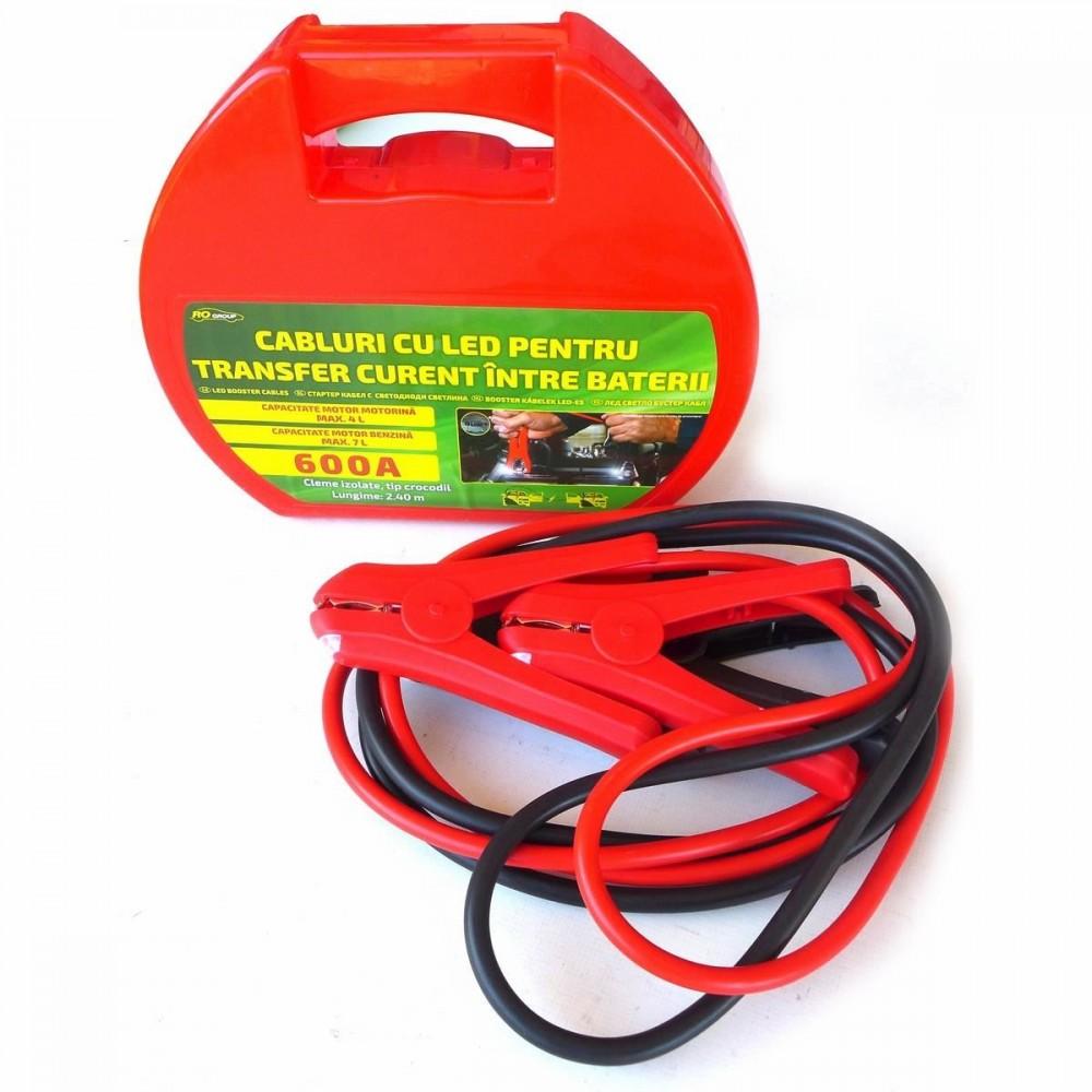 Cabluri pornire auto RoGroup, cu LED integrat, 600A