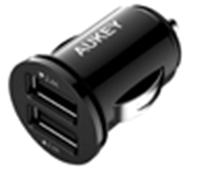 Incarcator auto Aukey CC-S1, 2 sloturi USB, negru
