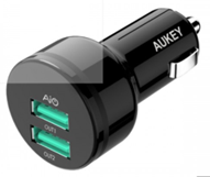 Incarcator auto Aukey CC-S12, 2 sloturi USB 2.4A, negru
