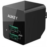 Incarcator de perete Aukey PA-U32, 2 sloturi USB 2.4A, negru, conectori priza pliabili