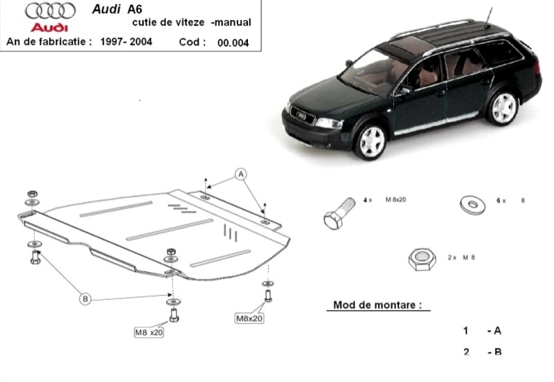Scut cutie de viteze manuală Audi A6, an 1997 - 2004