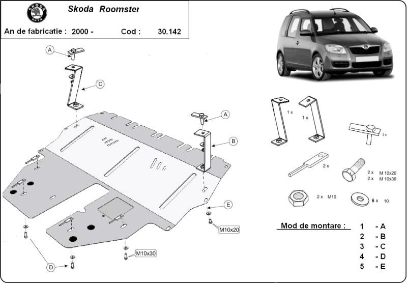 Scut motor Skoda Roomster, an 2004 - 2016
